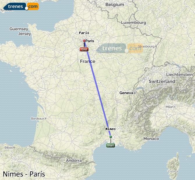Agrandir la carte Trains Nimes Paris