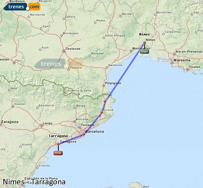 Enlarge map Trains Nimes to Tarragona