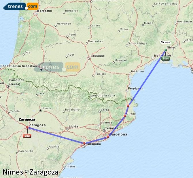 Enlarge map Trains Nimes to Zaragoza