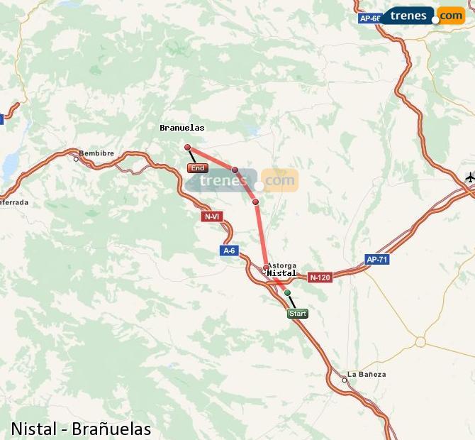 Ingrandisci la mappa Treni Nistal Brañuelas