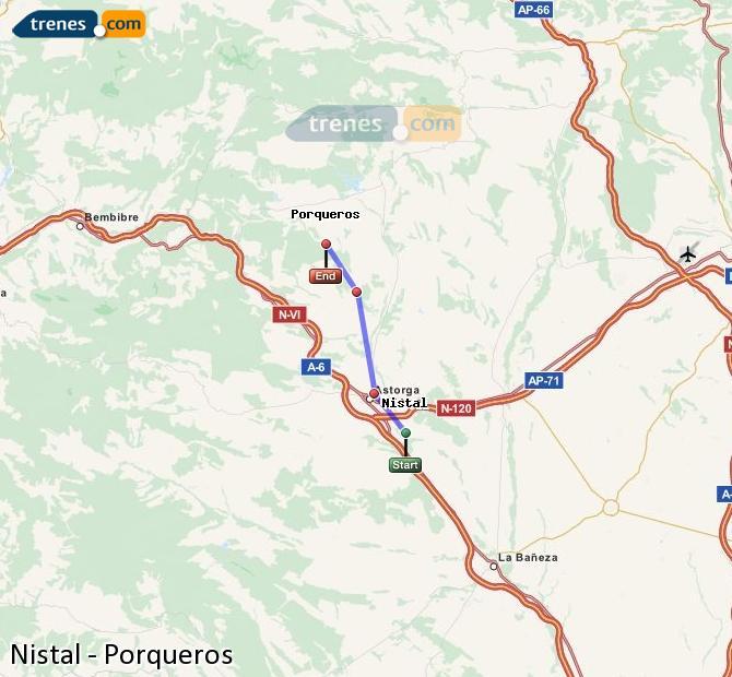 Enlarge map Trains Nistal to Porqueros