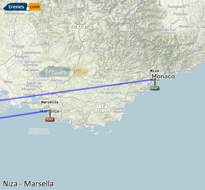 Agrandir la carte Trains Nice Marsella