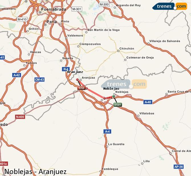 Enlarge map Trains Noblejas to Aranjuez