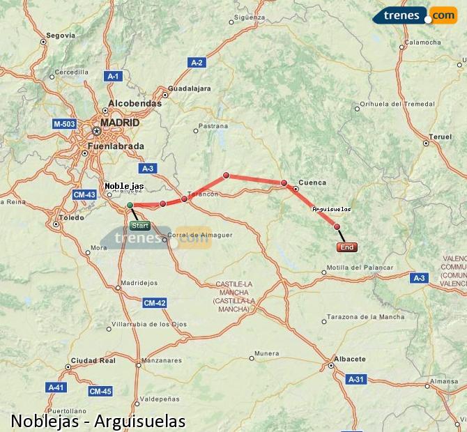 Agrandir la carte Trains Noblejas Arguisuelas