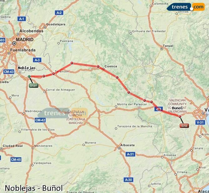 Agrandir la carte Trains Noblejas Buñol