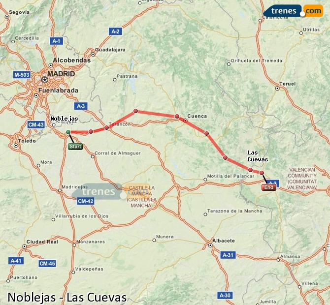 Enlarge map Trains Noblejas to Las Cuevas