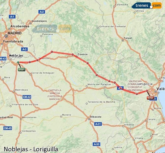 Enlarge map Trains Noblejas to Loriguilla