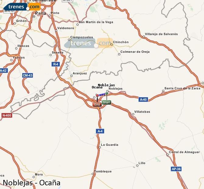 Ampliar mapa Trenes Noblejas Ocaña