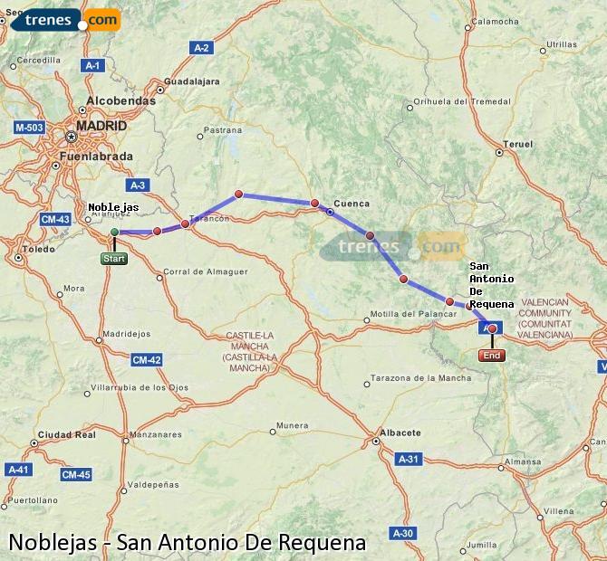 Enlarge map Trains Noblejas to San Antonio De Requena