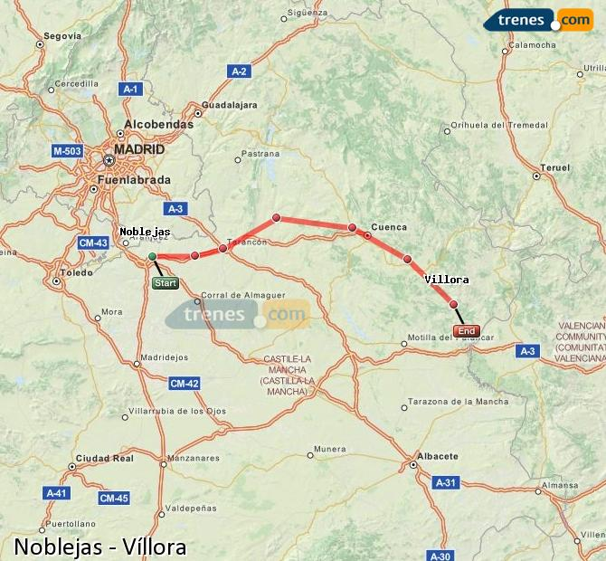 Karte vergrößern Züge Noblejas Víllora