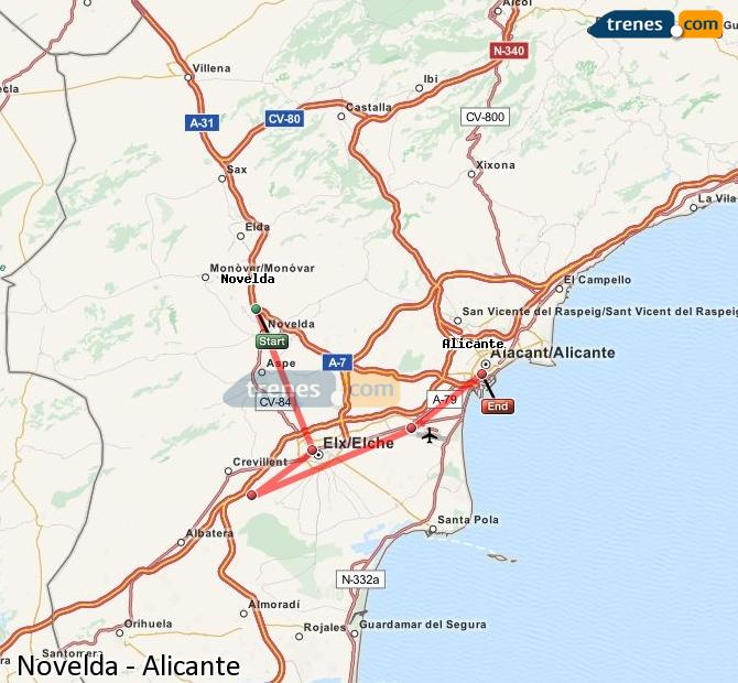 Enlarge map Trains Novelda to Alicante