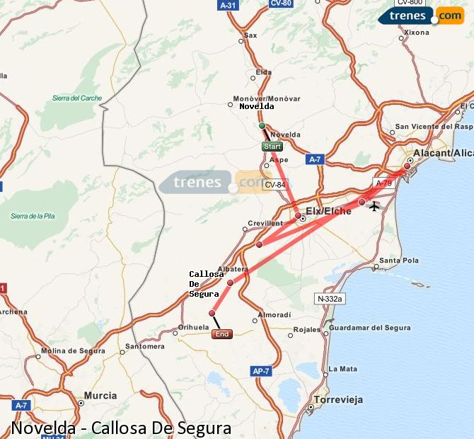 Agrandir la carte Trains Novelda Callosa De Segura
