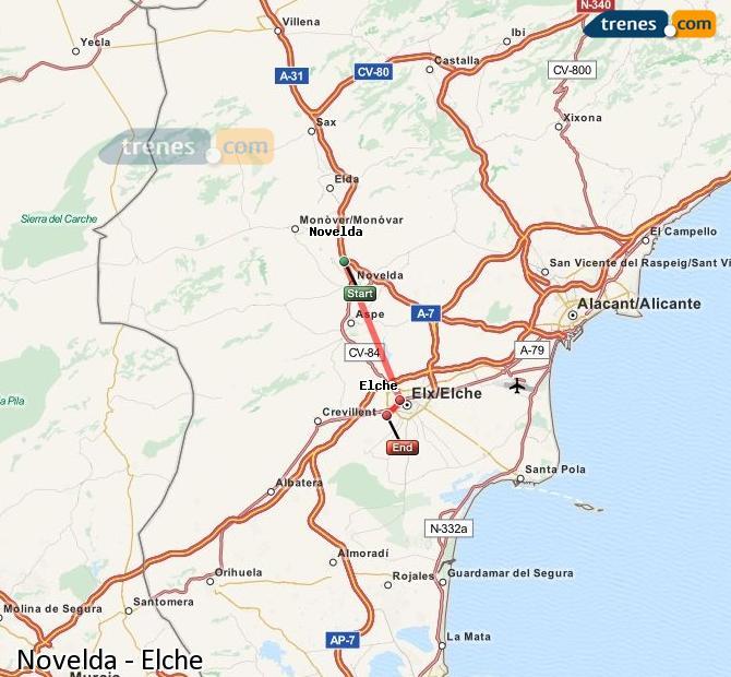 Enlarge map Trains Novelda to Elche