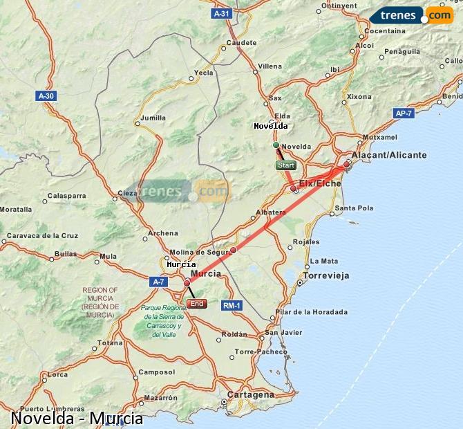 Karte vergrößern Züge Novelda Murcia