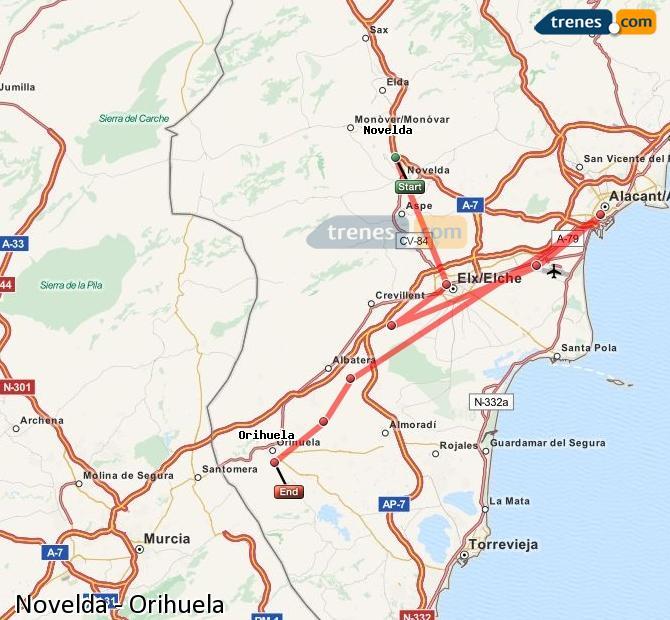Enlarge map Trains Novelda to Orihuela