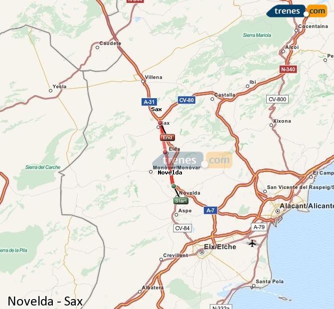 Enlarge map Trains Novelda to Sax