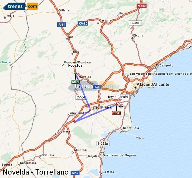 Enlarge map Trains Novelda to Torrellano