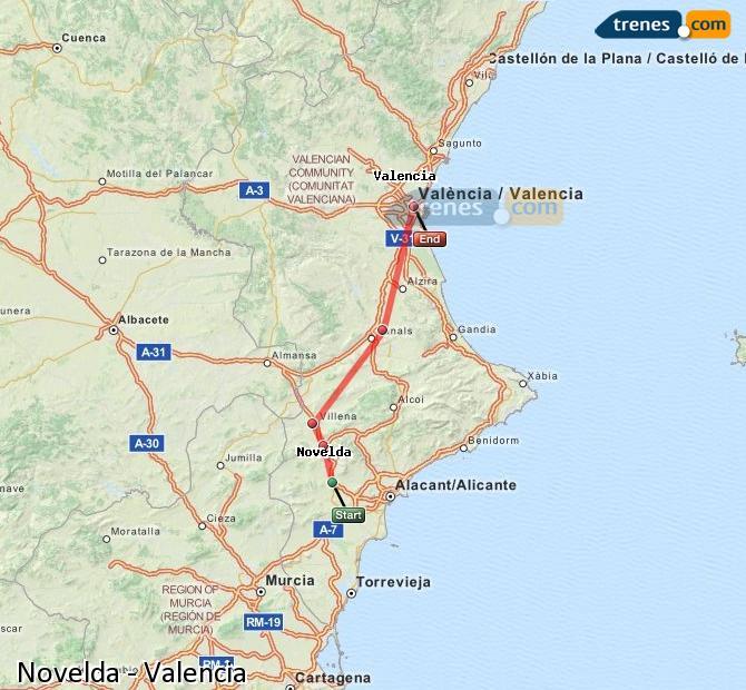 Agrandir la carte Trains Novelda Valence