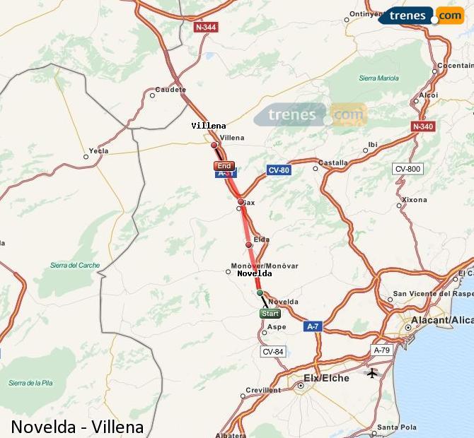 Ingrandisci la mappa Treni Novelda Villena