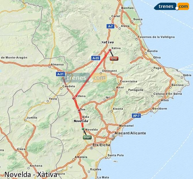 Enlarge map Trains Novelda to Xativa