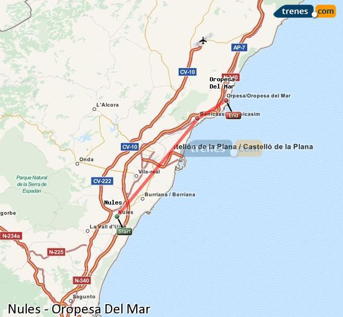 Ampliar mapa Comboios Nules Oropesa Del Mar