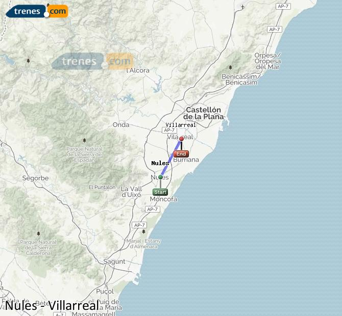 Agrandir la carte Trains Nules Villarreal