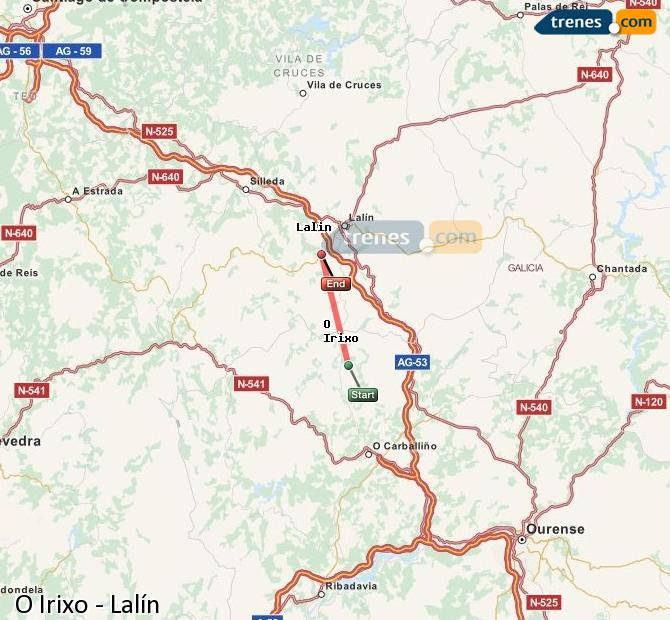 Enlarge map Trains O Irixo to Lalín