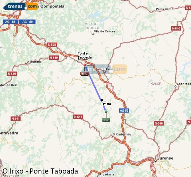 Enlarge map Trains O Irixo to Ponte Taboada