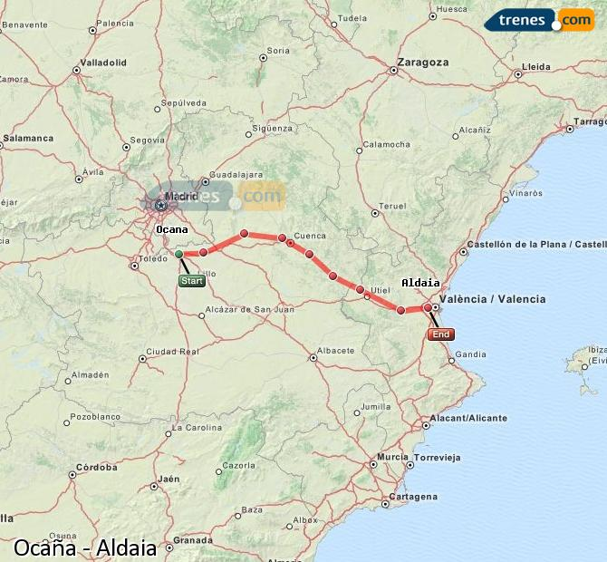 Enlarge map Trains Ocaña to Aldaia
