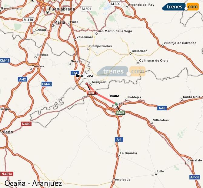 Ingrandisci la mappa Treni Ocaña Aranjuez
