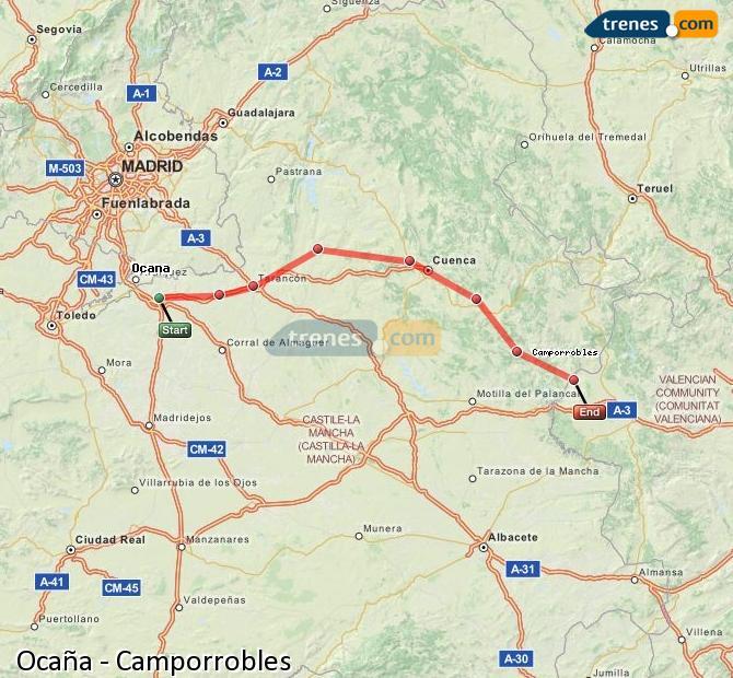 Ampliar mapa Comboios Ocaña Camporrobles