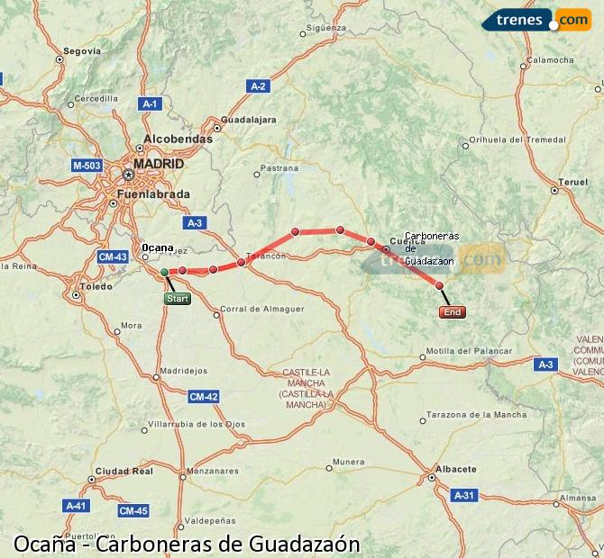 Enlarge map Trains Ocaña to Carboneras of Guadazaón