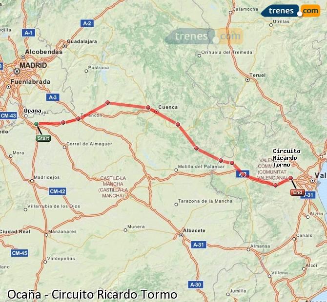 Enlarge map Trains Ocaña to Ricardo Tormo Circuit