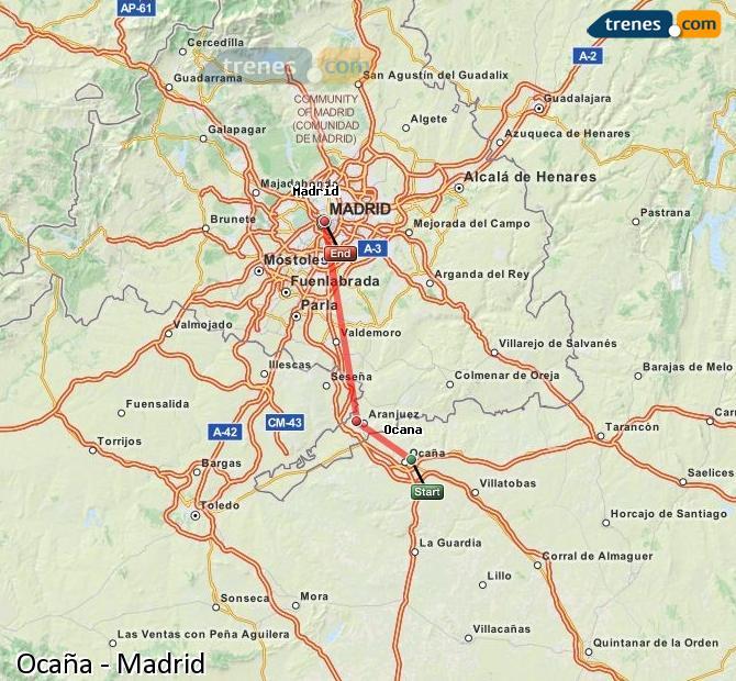 Karte vergrößern Züge Ocaña Madrid