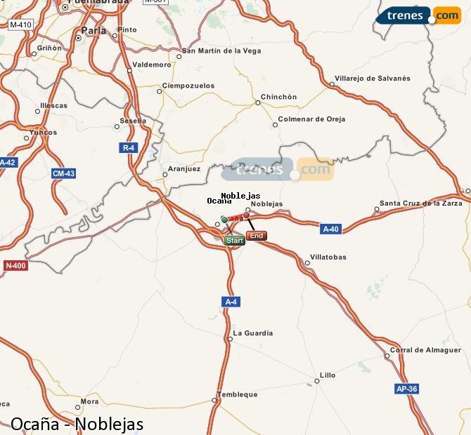 Ingrandisci la mappa Treni Ocaña Noblejas