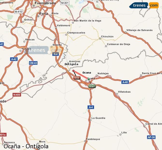 Ampliar mapa Comboios Ocaña Ontígola