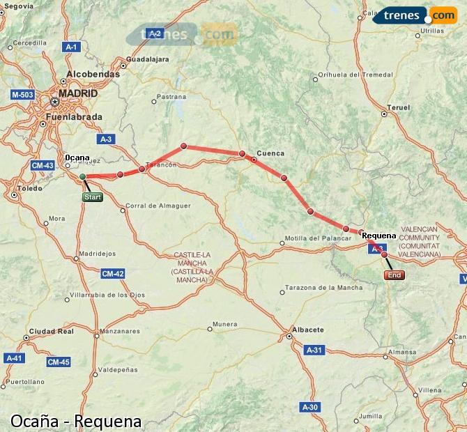 Ampliar mapa Trenes Ocaña Requena