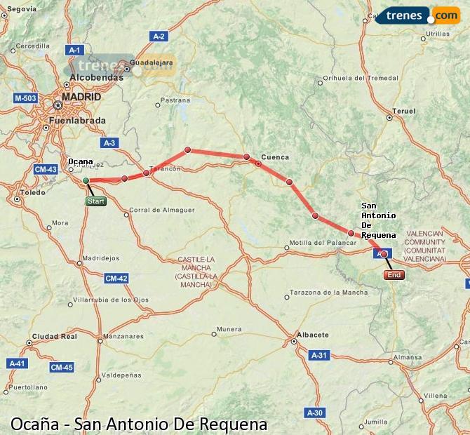 Enlarge map Trains Ocaña to San Antonio De Requena