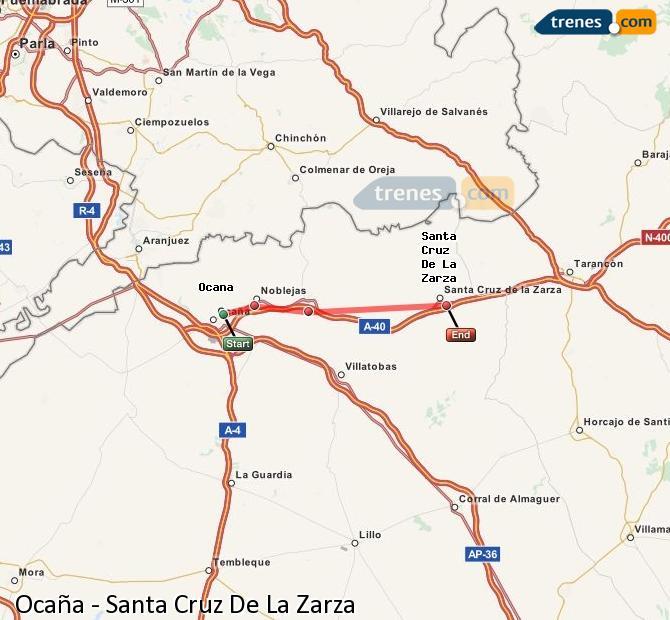 Ampliar mapa Trenes Ocaña Santa Cruz De La Zarza