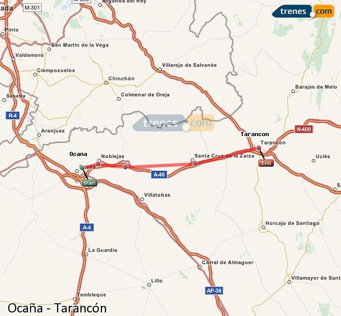 Ampliar mapa Comboios Ocaña Tarancón