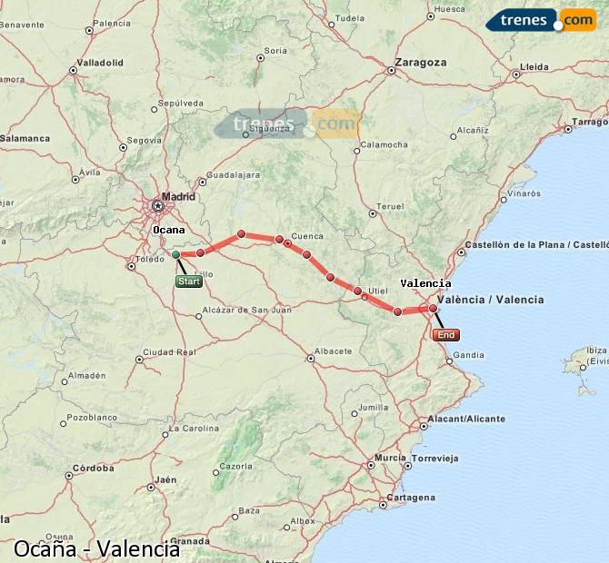 Agrandir la carte Trains Ocaña Valence