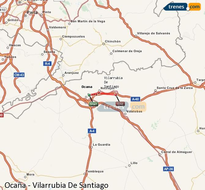 Enlarge map Trains Ocaña to Vilarrubia De Santiago