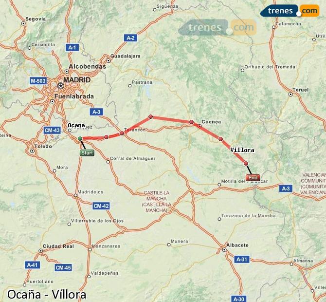 Karte vergrößern Züge Ocaña Víllora