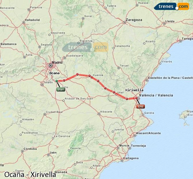 Enlarge map Trains Ocaña to Xirivella