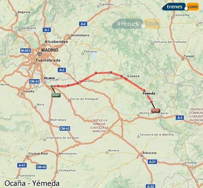Ingrandisci la mappa Treni Ocaña Yémeda