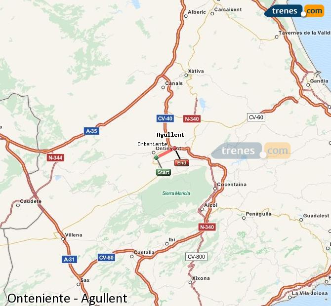 Enlarge map Trains Onteniente to Agullent