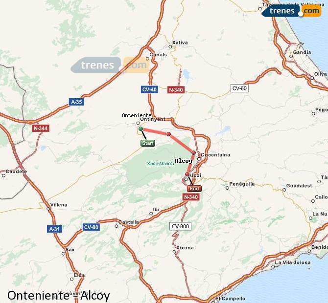 Ampliar mapa Trenes Onteniente Alcoy