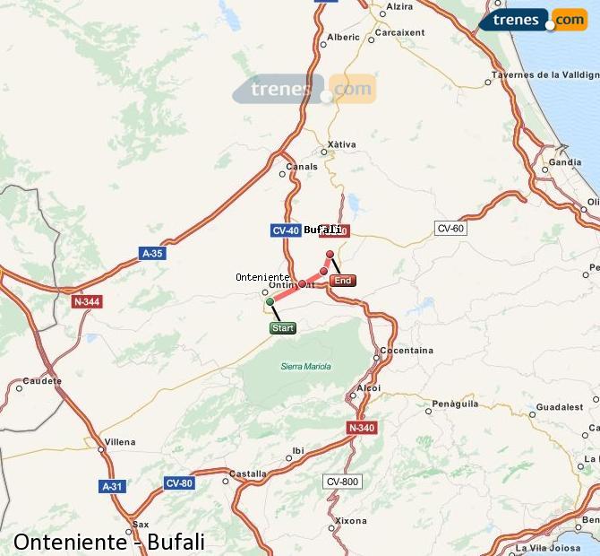 Ingrandisci la mappa Treni Onteniente Bufali