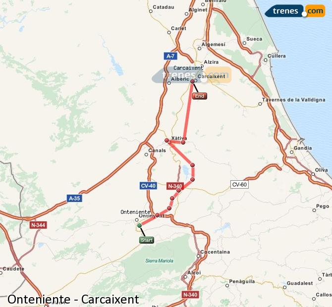 Ampliar mapa Trenes Onteniente Carcaixent