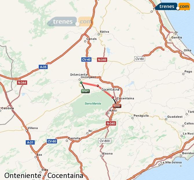 Enlarge map Trains Onteniente to Cocentaina